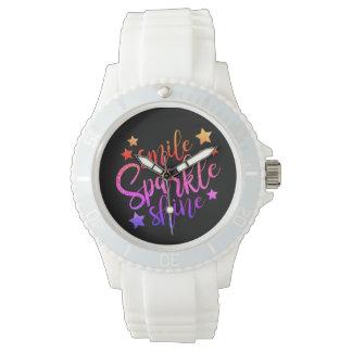 Smile Sparkle Shine Black Multi Coloured Quote Watch