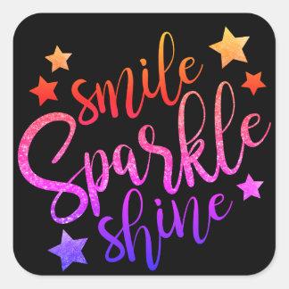 Smile Sparkle Shine Black Multi Stickers Labels