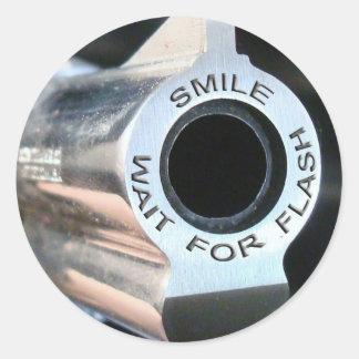 Smile-wait for flash.jpg classic round sticker