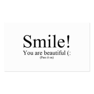 Smile! You are beautiful (: Pack Of Standard Business Cards