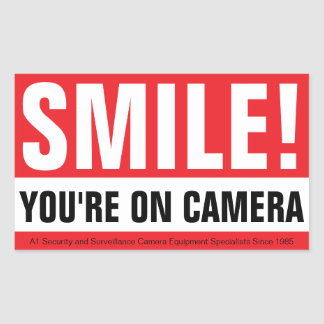 Smile, Your On Camera! Rectangular Sticker