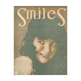 Smiles Vintage Music Stretched Canvas Prints