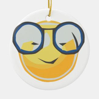 Smiles with glasses ceramic ornament