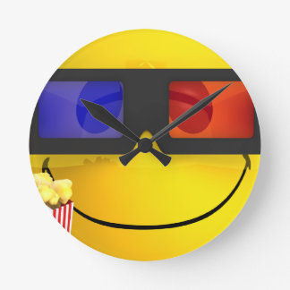 Smiley 3d glasses and popcorn clock