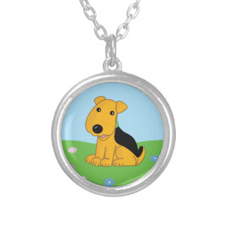 Smiley Airedale Puppy Dog in Field  Necklace