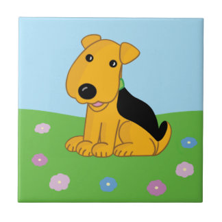 Smiley Airedale Puppy in Flowers Ceramic Tile
