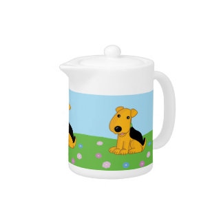 Smiley Airedale Terrier Dog in Field Tea Pot
