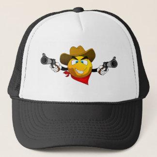 Smiley american dangerous bandit with guns trucker hat