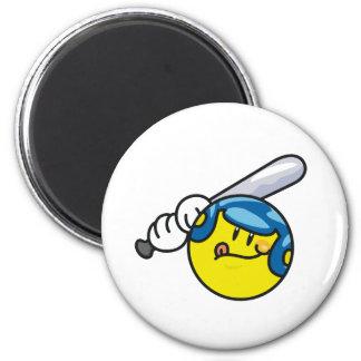 Smiley Baseball 6 Cm Round Magnet