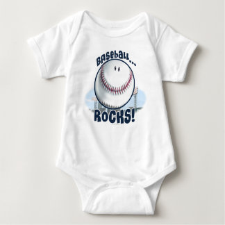 Smiley Baseball Rocks by Mudge Studios Baby Bodysuit
