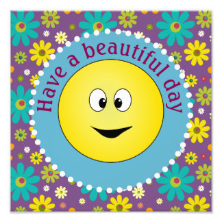 Smiley Beautiful Day Hippie Flowers Photo Print