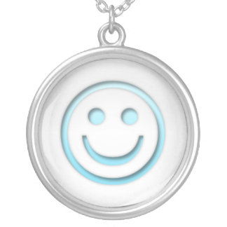 Smiley Blue Face Silver Plated Necklace