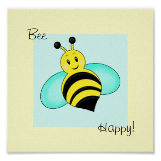 "Smiley Bumblebee ""Bee Happy"" Print"