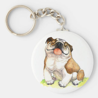 Smiley Cartoon  Bulldog Puppy Budget Key Chain