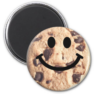 Smiley Chocolate Chip Cookie 6 Cm Round Magnet