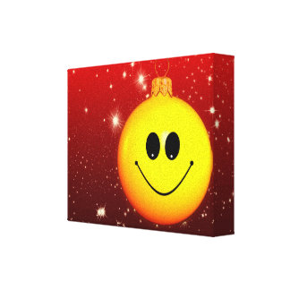 Smiley Christmas bauble Canvas Prints