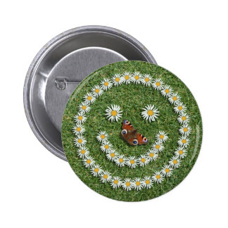 Smiley Daisy Face with Butterfly Nose Button Badge