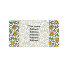 Smiley Daisy Flowers Pattern Label