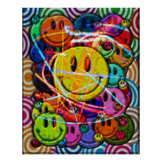 Smiley Face Buttons Abstract Design Poster