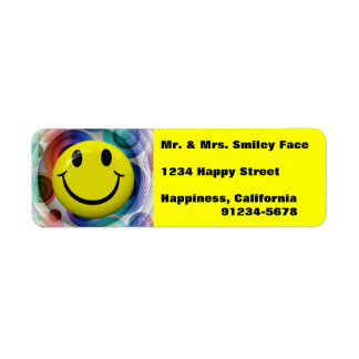 Smiley Face Colorful, Bright Return Address Labels