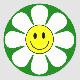smiley face daisy sticker