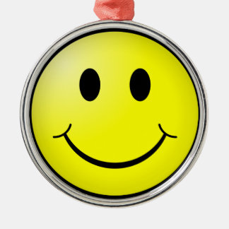 Smiley Face Silver-Colored Round Decoration