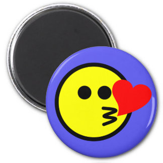Smiley Face Emoji Blowing Kiss Heart Magnet