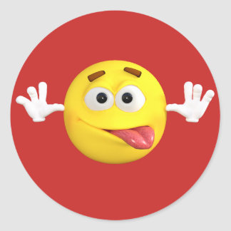 Smiley Face Emoji Sticking out Tongue Teasing Round Sticker