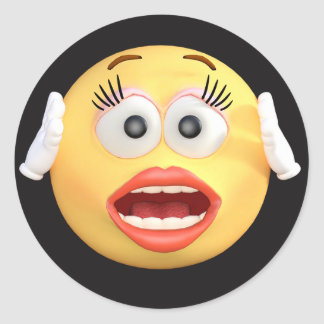 Smiley Face Emoji with Surprised Face Classic Round Sticker