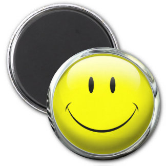 Smiley Face Emoticon Glass Ball 6 Cm Round Magnet