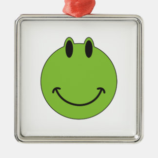 Smiley Face Frog Silver-Colored Square Decoration