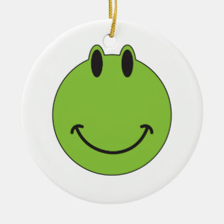 Smiley Face Frog Double-Sided Ceramic Round Christmas Ornament