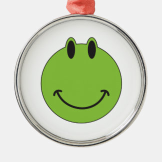 Smiley Face Frog Silver-Colored Round Decoration