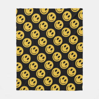 Smiley face fun fleece blanket