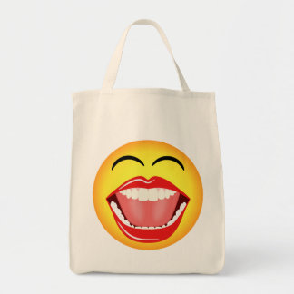 Smiley Face Fun Humor Funny Grocery Tote Bags