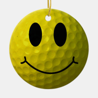 Smiley Face Golf Ball Ceramic Ornament