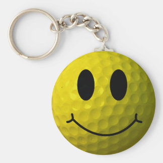 Smiley Face Golf Ball Key Ring