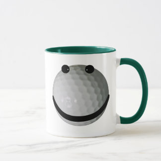 Smiley face golf ball mug