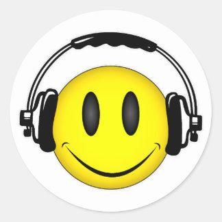 Smiley Face Headphones Classic Round Sticker