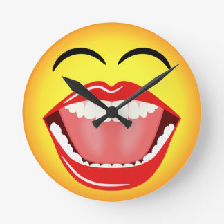 Smiley Face Humor Medium Funny Round Wall Clock