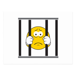 Smiley Face in Jail Postcard