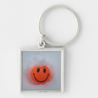 Smiley Face in Snow Key Ring