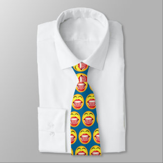 Smiley Face LOL Blue Fun Funny Laughing Neck Ties
