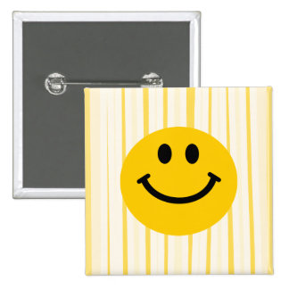 Smiley Face on sunny yellow stripes Button