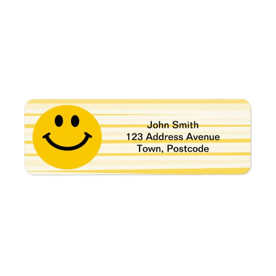Smiley Face on sunny yellow stripes Return Address Label