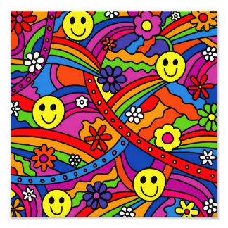 Smiley Face Rainbow and Flower Hippy Pattern Photo Print