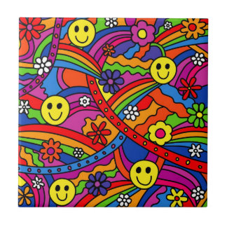 Smiley Face Rainbow and Flower Hippy Pattern Tile