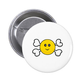smiley face Skull and Crossbones 6 Cm Round Badge