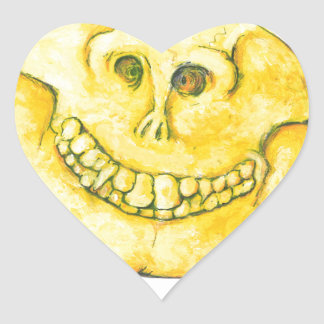 Smiley Face Skull Heart Sticker
