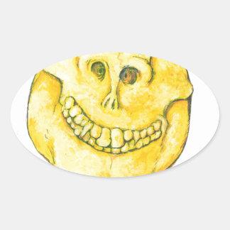 Smiley Face Skull Oval Sticker